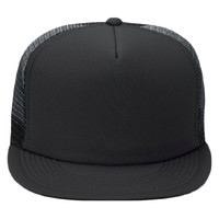 "OTTO Polyester Foam Front Round Flat Visor ""OTTO SNAP"" Five Panel High Crown Mesh Back Trucker Snapb"