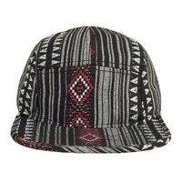OTTO Aztec Pattern Polyester Jacquard Binding Trim Square Flat Visor Five Panel Camper Hat