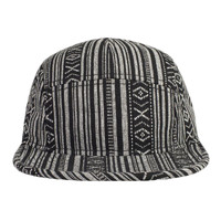 OTTO Aztec Pattern Cotton Jacquard Binding Trim Square Flat Visor Five Panel Camper Hat