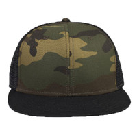 "OTTO Camouflage Cotton Twill Round Flat Visor ""OTTO SNAP"" Six Panel Pro Style Mesh Back Trucker Snap"