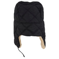 OTTO Quilted Polyester Shell w/ Shearling Lining Three Panel Trapper Hat