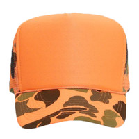 OTTO Neon Camouflage Polyester Foam Front Five Panel High Crown Mesh Back Trucker Hat