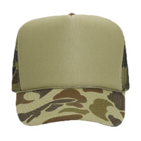 OTTO Camouflage Polyester Foam Front Five Panel High Crown Mesh Back Trucker Hat