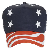OTTO United States Flag Pattern Cotton Twill Five Panel Pro Style Baseball Cap