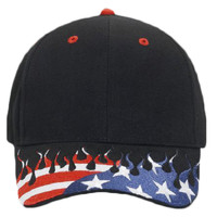 OTTO United States Flag Flame Pattern Visor Brushed Cotton Twill Six Panel Low Profile Baseball Cap
