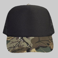 OTTO Camouflage Cotton Twill Visor Polyester Foam Front Five Panel High Crown Mesh Back Trucker Hat