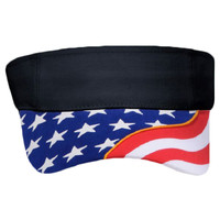 OTTO United States Flag Pattern w/ Yellow Piping Visor Ultra Fine Brushed Superior Cotton Twill Sun