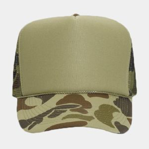 OTTO Camouflage Polyester Foam Front Five Panel High Crown Mesh Back Trucker Hat Thumbnail