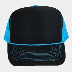 OTTO Polyester Foam Front Neon Mesh Back Five Panel High Crown Mesh Back Trucker Hat Thumbnail