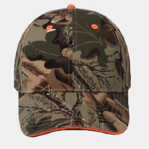 OTTO Camouflage Cotton Blend Twill Sandwich Visor Six Panel Low Profile Baseball Cap Thumbnail