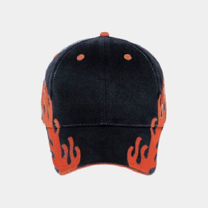 OTTO Flame Pattern Brushed Cotton Twill Sandwich Visor Six Panel Low Profile Baseball Cap Thumbnail