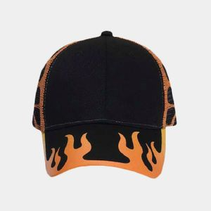 OTTO Flame Pattern Cotton Twill Six Panel Low Profile Mesh Back Trucker Hat Thumbnail